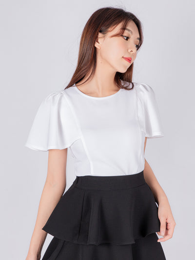 Haylie puff sleeve white top