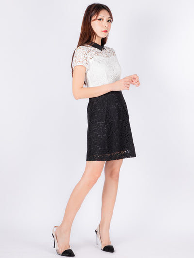 Gaily collar black and white lace dress