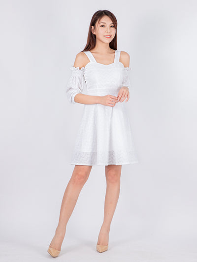 Haylie drop shoulder white dress