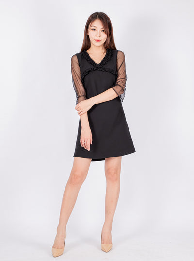 Haylie frill detail black dress