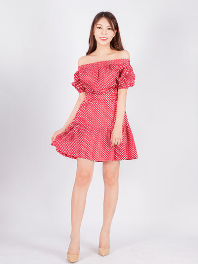 Haylie printed drop shoulder red dress