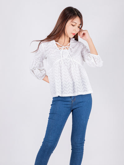 Haylie frill collar broderie top