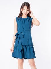 Haylie tie waist ruffle blue dress