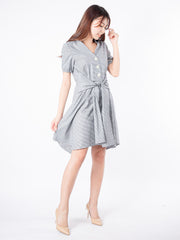 Haylie wrap tie detail grey dress