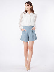 Haylie long sleeve white lace top