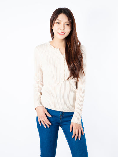 Haylie long sleeve buttons beige top