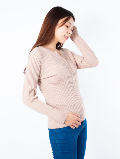 Haylie long sleeve buttons pink top