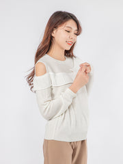 Joshie pleated detail white knit top