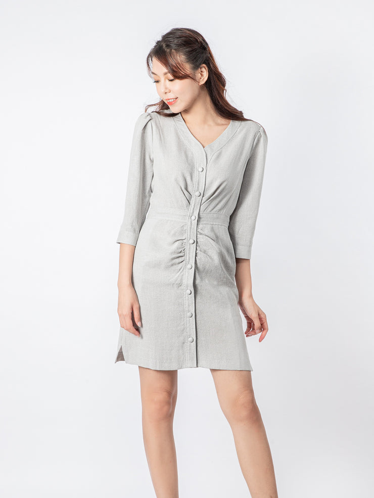 Gaily button ruched grey dress