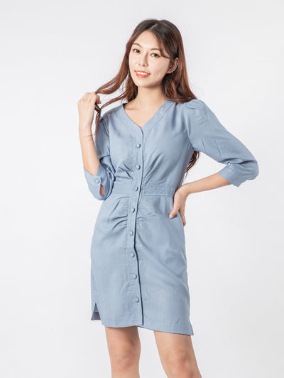 Gaily button ruched blue dress