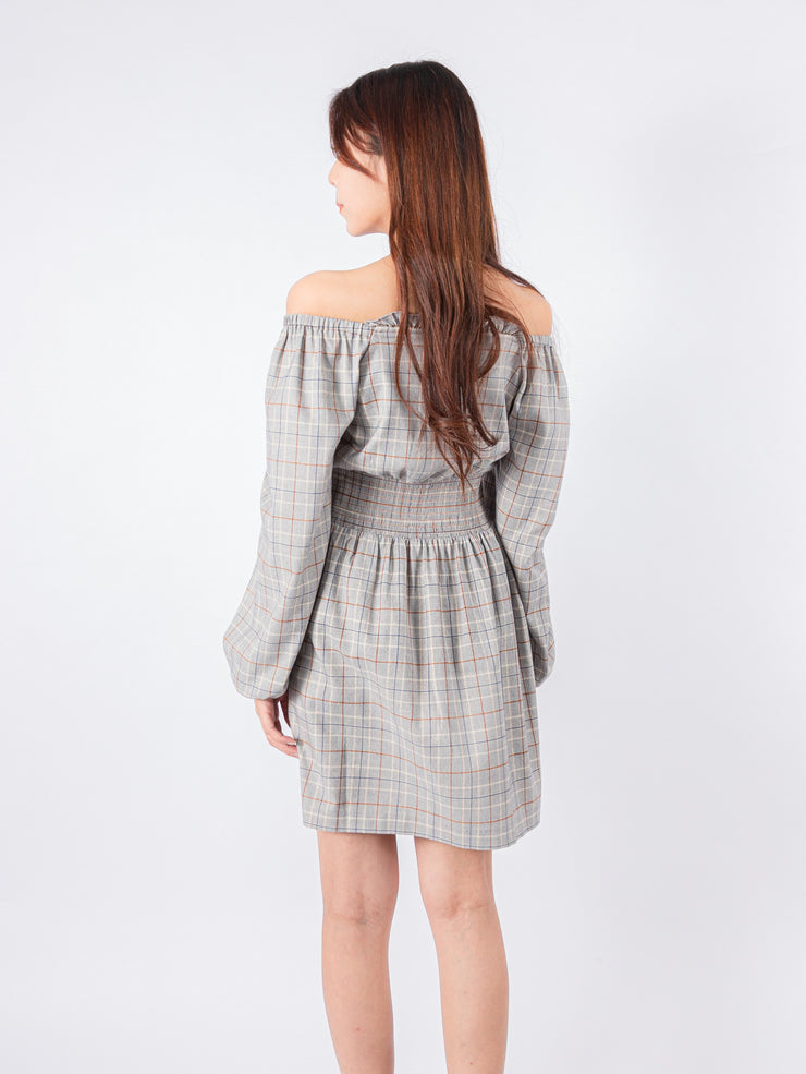 Kylie elastic waistband tartan dress