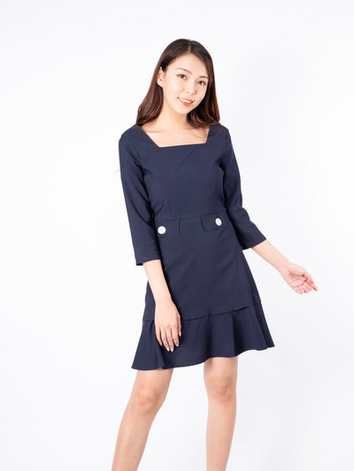 Gaily tie waist navy dress