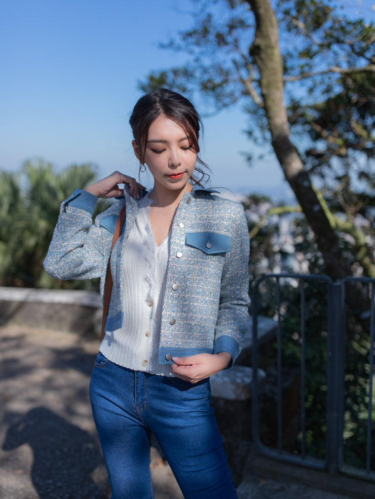 Kylie denim tweed jacket (Pre-Order: Expected Arrival Late Nov 2020)