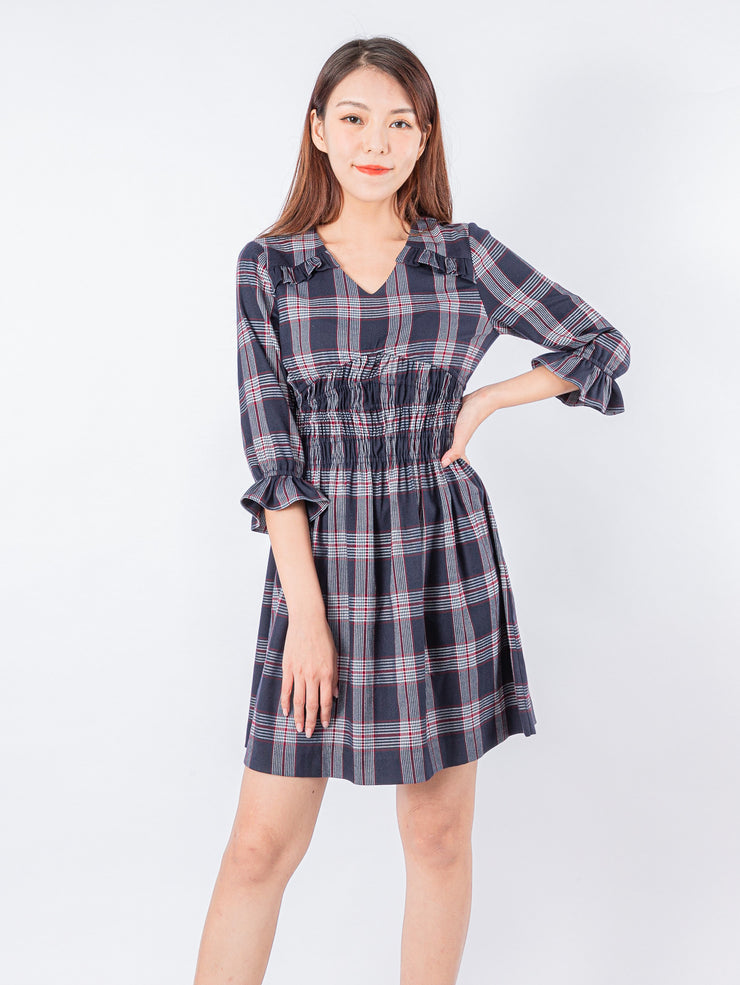 Kylie frill detail tartan dress