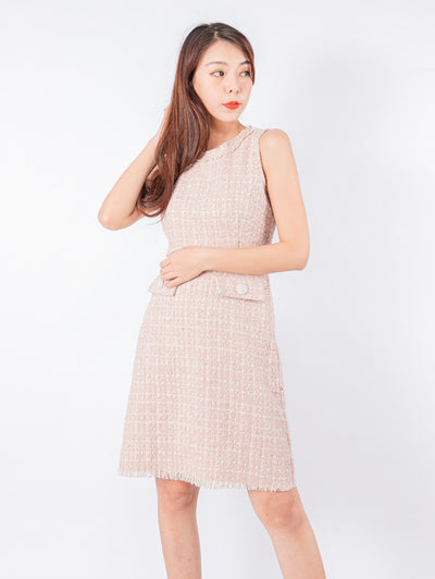 Kylie pink tweed dress (Pre-Order: Expected Arrival Late Nov 2020)