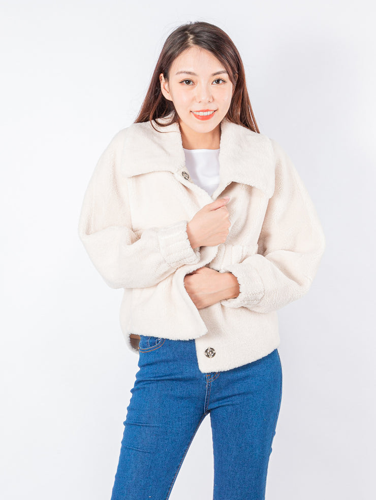 Kylie white teddy jacket
