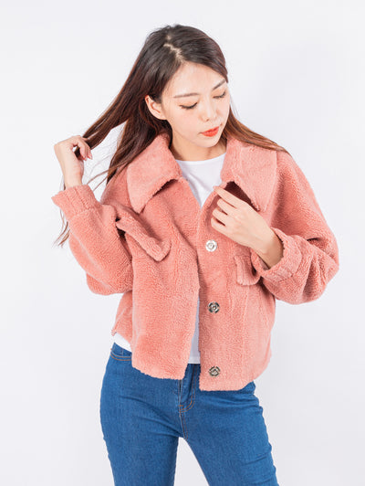 Kylie pink teddy jacket
