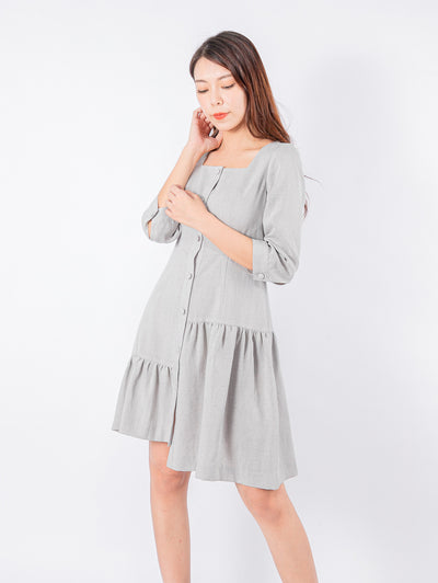 Joshie button up gathered dress