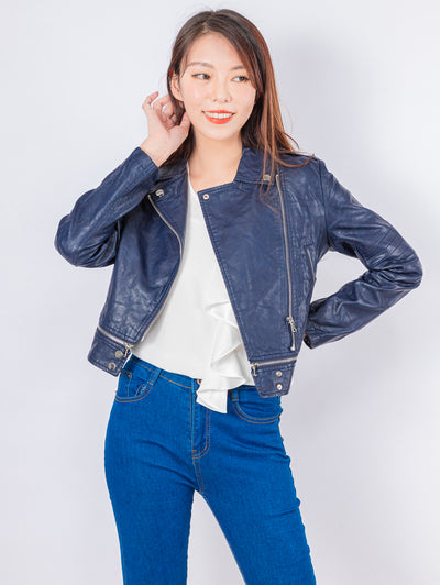 Kylie navy faux leather jacket