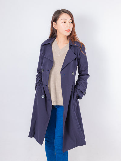 Kylie navy belted trench coat
