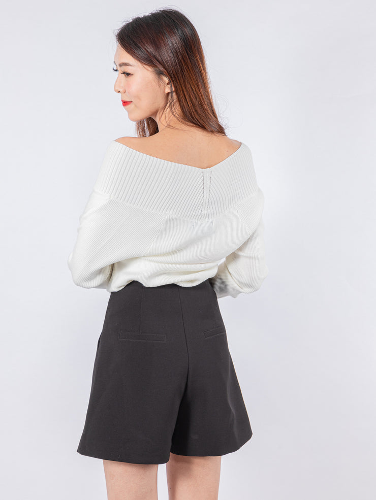 Kylie cross front white knit top