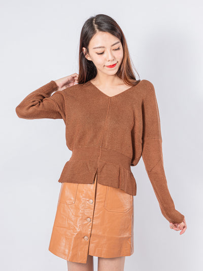 Kylie bat sleeves knit top
