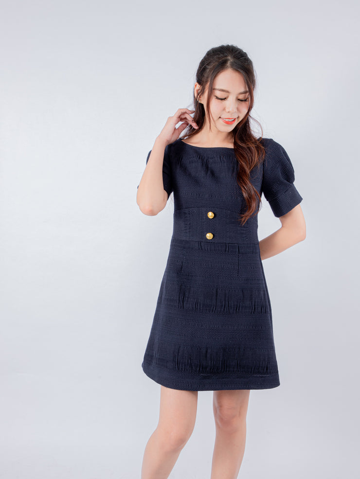 Aria puff sleeves navy dress