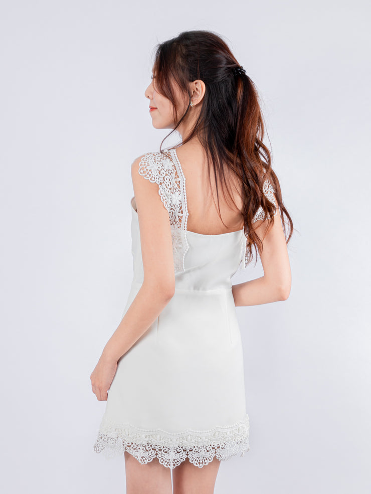 Aria lace detailed white dress