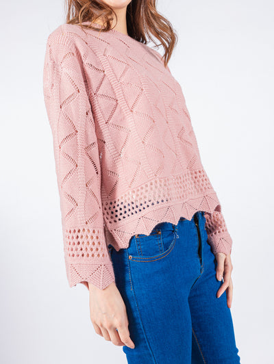 Aria pink knit top