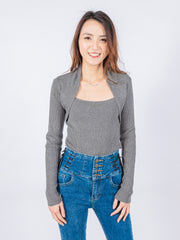 Aria grey knit top