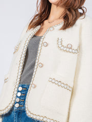 Aria white knit jacket