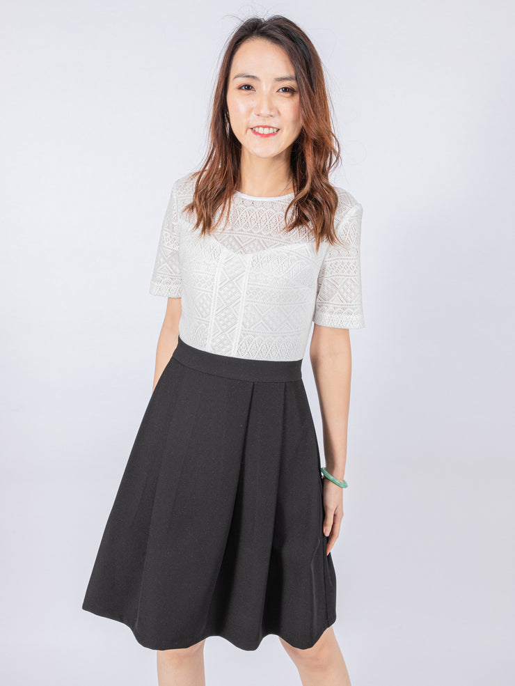Aria lace contrast dress