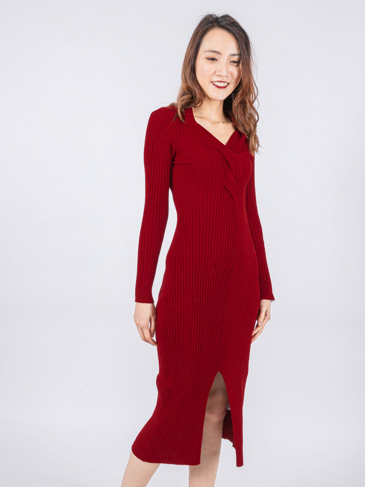 Aria twisted burgundy knit dress