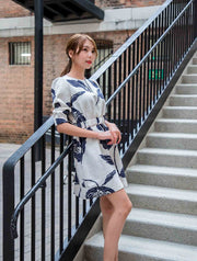 Kayla blue print dress