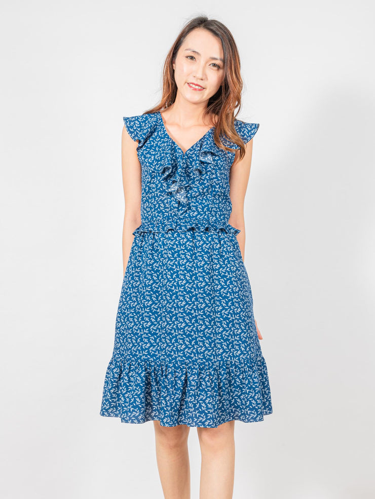 Bella blue floral ruffle dress