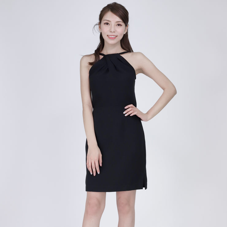 Farah Pleated Cross Neckline Dress Black