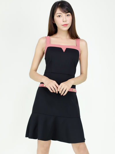 Estee contrast color sleeveless ruffle dress