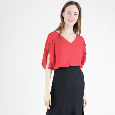 Ruffle mid-sleeves top
