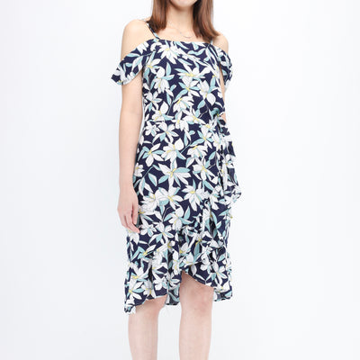 Hana navy print drop shoulders dress