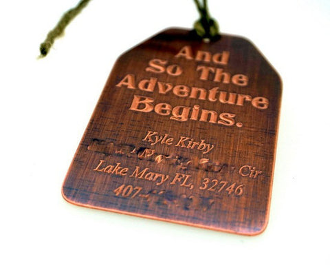 Personalized Luggage Tag, Bag Marker, Custom luggage, name and address, Antiqued Copper