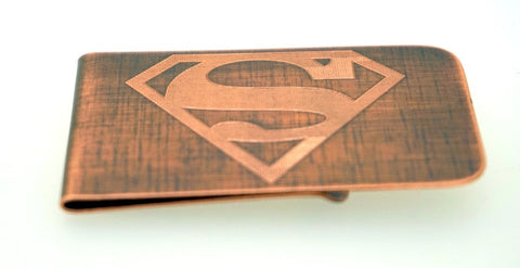 Engraved & Antiqued Copper Money Clip - Marvel Comics, DC Comics, Avengers - Superman