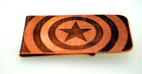Engraved & Antiqued Copper Money Clip - Marvel Comics, DC Comics, Avengers - Captain America
