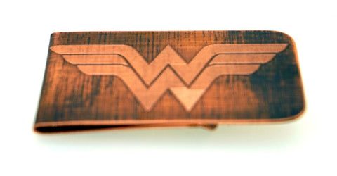 Engraved & Antiqued Copper Money Clip - Marvel Comics, DC Comics, Avengers - Wonderwoman