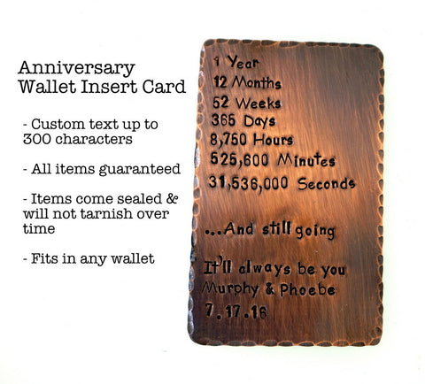 Wallet Insert Card - Hand Stamped - Antiqued Copper - Personalized up to 300 Characters - 1st Anniversary - Days, Minutes, Seconds, Hours