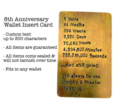 Wallet Insert Card - Hand Stamped - Antiqued Brass - Personalized up to 300 Characters - 8th Anniversary, 21st Anniversary