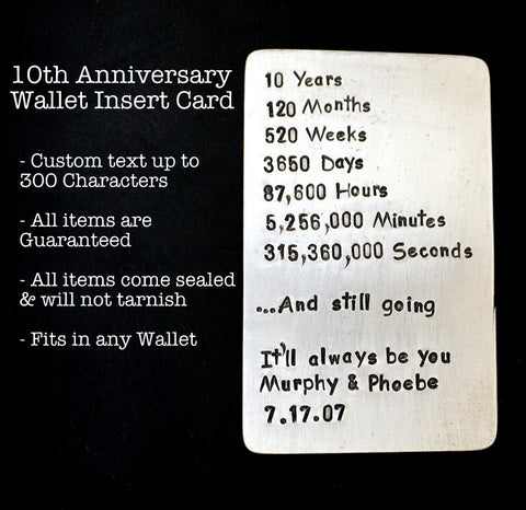 Wallet Insert Card - Hand Stamped - Aluminum - Personalized up to 300 Characters - 10th Anniversary, Days, Minutes, Hours, Seconds