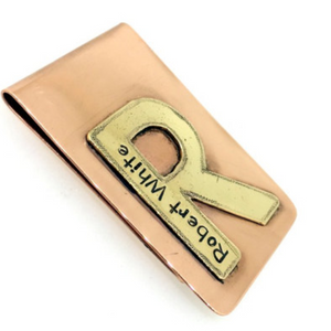 Initial Money Clip- Copper & Brass