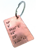Coordinate Keychain - Copper