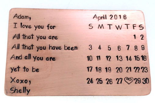 All That You Are with calendar- Copper