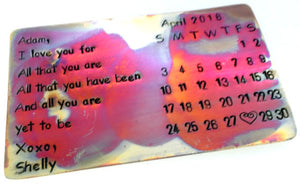 All That You Are Calendar- Flame Oxidized Aluminum